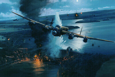 Operation Chastise Dambusters Ruhr River Barnes Wallis World War 2 Oil Painting