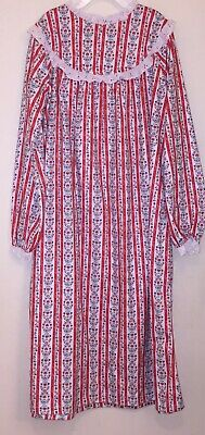 NWT Girls Kids LANZ OF SALZBURG Nightgown PJ Red Floral Size Large (10-12 1c08caf48