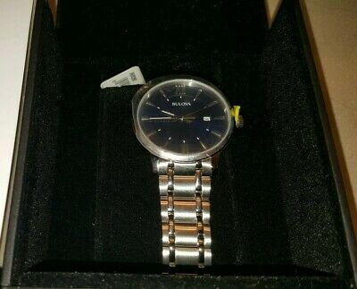 NEW Bulova Quartz Blue Dial Stainless Steel Bracelet Men's Dress Watch 96B282