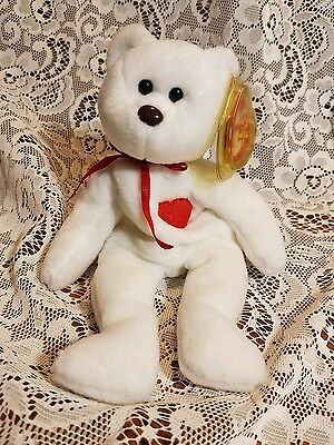 1993 Valentino Original Ty Beanie Baby Bear with Hang and Tush Tag RETIRED 2c586ea04bf3