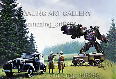 World War 2 Transformers Fall of Cybertron Secret Mission Forest Oil Painting