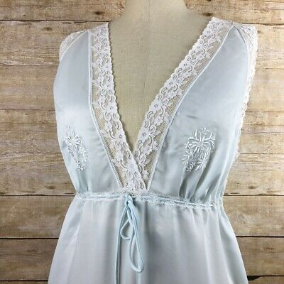 281c7f24a4 Christian Dior Womens Nightgown Vintage Light Blue Lace Full Length Lingerie  L