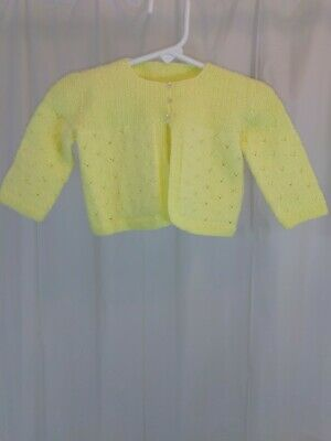 Vintage Handmade Baby Girls Yellow Cardigan Church Sweater Toddler Sized Zz126