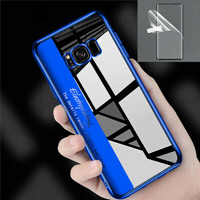Clear TPU Silicon Case For Samsung S10 S9 + Transparent Cover & Tempered glass