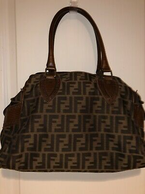 4788bb69920a Authentic FENDI Du Jour Star Zucca Hand Bag Brown Canvas Leather - Slightly  Used