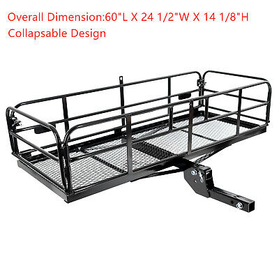 """60"""" Folding Hitch Cargo Carrier Mounted Basket Luggage Rack with 2"""" Receiver"""