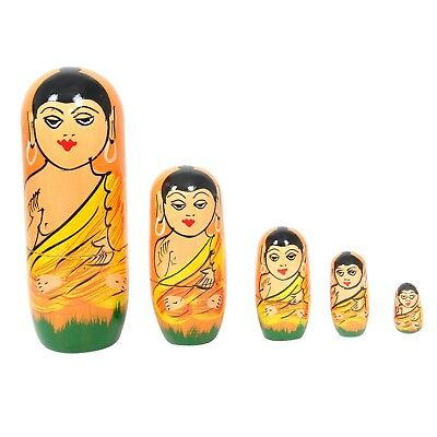 5 Pcs Set Handmade Indian Buddha Face Nesting Doll Gift Toys