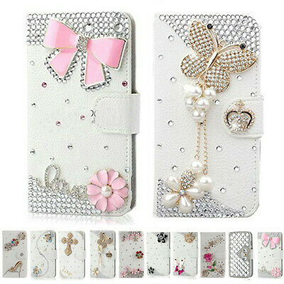 Handmade Bling Diamond Rhinestone Leather Filp Cover Wallet Case for Samsung S10