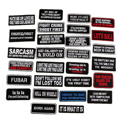 1/2pcs Words Slogan Badge Embroidered Iron on Patches Fabric Sticker Clothes Bag
