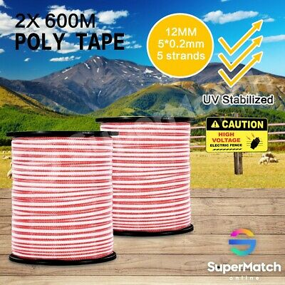 2PCS 600M Roll Polytape Fence Electric Stainless Steel Stabilized Poly Tape Wire