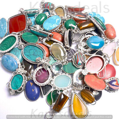 Labradorite & Mixed Gemstone Wholesale Lot 925 Sterling Silver Plated Pendant
