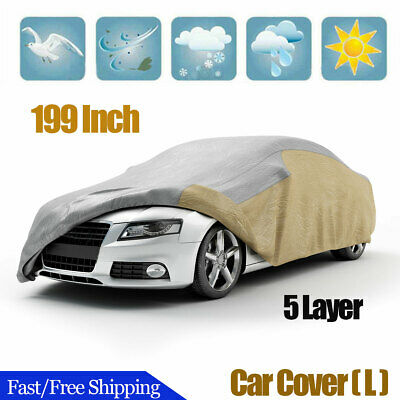 7d9ba9ad012 Waterproof 5 Layer Car Cover Breathable Reflective 199 Inch Sun UV  Protection -L