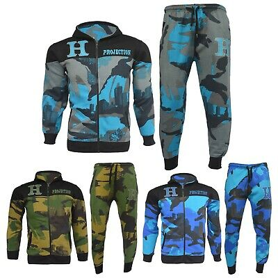 Boys Girls Designer's Tracksuit Zipped Top Bottoms Kids Jogging Suits 7-13 Years