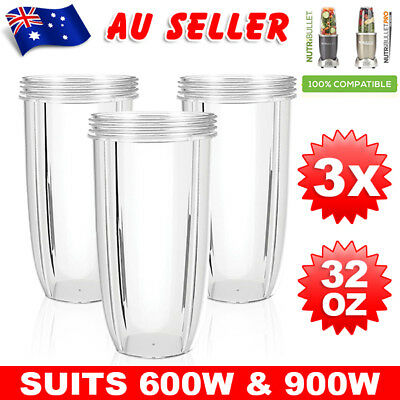3X NUTRIBULLET COLOSSAL BIG TALL CUP 32 Oz - Nutri Bullet 600 & 900W Models aw