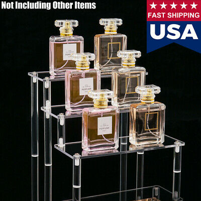 US 3-Tier Clear Acrylic Riser Display Shelf Removable Rack for Figures Jewelry