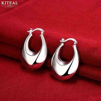 Womens 925 Sterling Silver Elegant Oval Shaped 36mm Hoop Pierced Earrings #E149