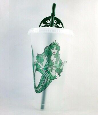 Starbucks Frosted Reusable Tumbler Cold Cup Mermaid Siren Logo 2019
