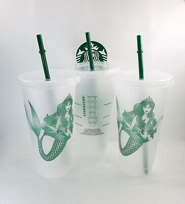 3 Starbucks Mermaid Siren Frosted Reusable Cold Cup without Original Logo 2019