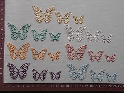 Die cuts - Butterflies x 21, Mixed colours   3 Sizes