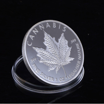 1oz 2014 Cannabis Maple Leaf Coin free shipping old coins collection gift