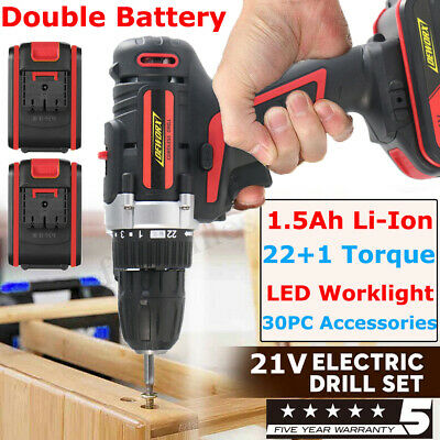 Spare Battery 21V Cordless Drill Wooden No Hammer Driver Lithium Ion 22+1 Torque