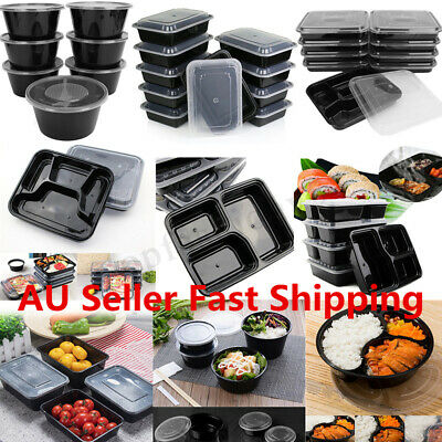 10-50 X Plastic Microwavable Meal Prep Container Lunch Box Food Storage Takeaway