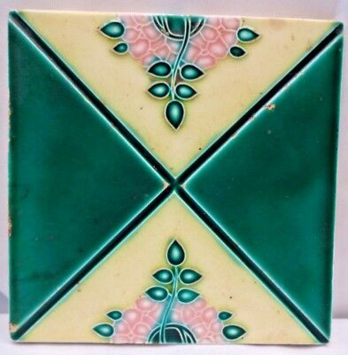 Vintage Tile Art Nouveau Majolica Japan Architecture Collectible Ceramic Old # 5
