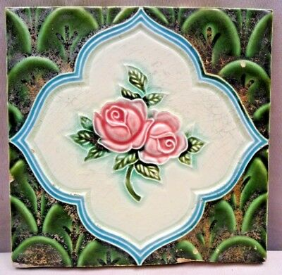 Vintage Tile Majolica Ceramic Art Nouveau Dk Japan Rose Design Green Color # 358
