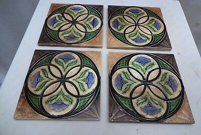 VINTAGE TILE ART NOUVEAU GEOMETRIC FLOWER DESIGN CERAMIC PORCELAIN MAJOLICA 4 Pc
