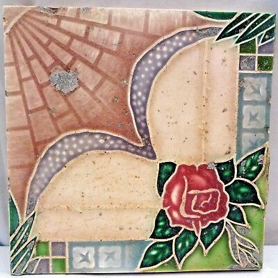 Tile Vintage Porcelain Rose Flower Design Japan Majolica Art Nouveau Collect#176