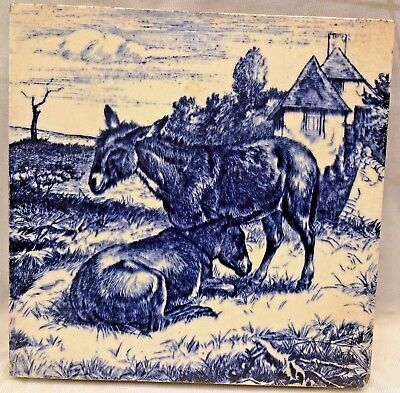 Minton's Tile Walbrook London China Works Vintage Porcelain Donkeys Collectibles