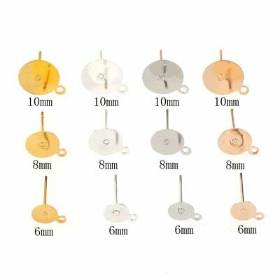 Jewellery Making & Design- Earring Post With Loop + Backings 100 Pairs (400pcs)