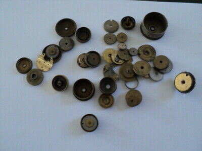 Job Lot Of Antique Clock /Pocket Watch? Wheels Winding Parts