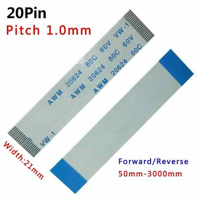 Pitch 1.0mm 20-Pin FFC/FPC Flexible Flat Cable 80C 60V VW-1 W:21mm L:50mm-3000mm