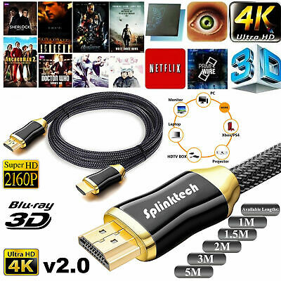 Premium 4K Hdmi Cable V2.0 High Speed Gold Plated Braided Lead 2160P 3D Hdtv Uhd