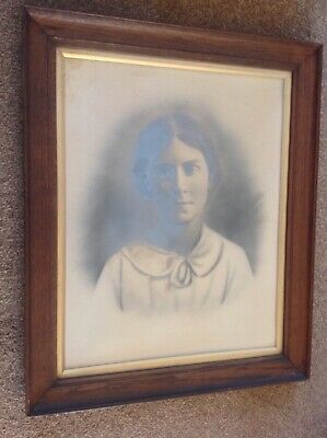"""Late 19th Century-Photograph Portrait Of A Lady In Original 23"""" X 19"""" Oak Frame."""