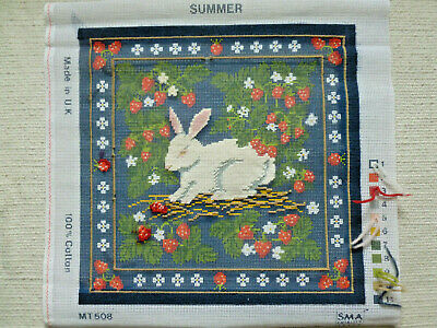 Wool Needlepoint Tapestry Canvas only SMA Summer part worked