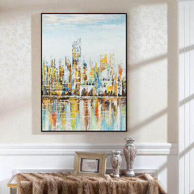 Modern Abstract Home Decor Wall Art HandPainted Cityscape Oil Painting Canvas