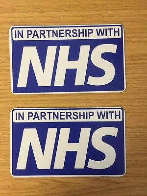 STICKERS Sign WORKING IN PARTNERSHIP NHS sign vehicle signage emergency X2