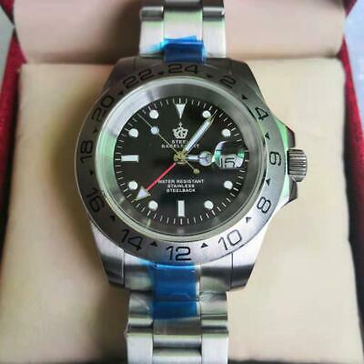 (Steel Bagelsport ) Classic Mens Watch Automatic Mechanical Date Black Dial +Box