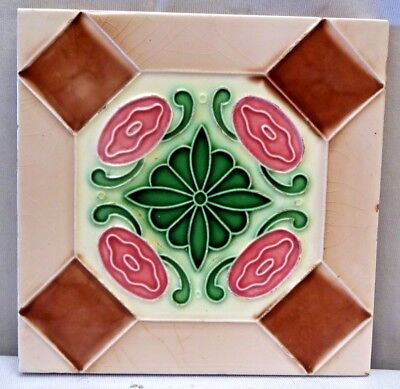 Tile Saji Japan Majolica Art Nouveau Ceramic Porcelain Geometric Design Old #235