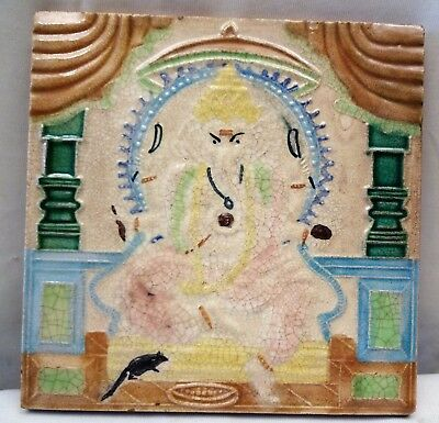 Antique Tile Lord Ganesha Indian God Wakaner Rare Architecture Collectibles Old