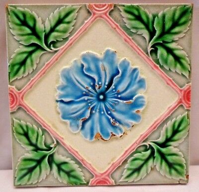 Tile Japan Saji Vintage Majolica Ceramic Porcelain Art Nouveau Flower Leaf # 210