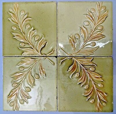 TILE MINTON ENGLAND LEAVES ART NOUVEAU MAJOLICA PORCELAIN VINTAGE OLD 4pc SET#90