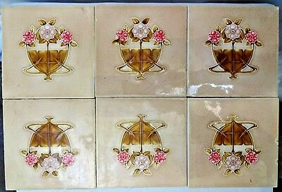 TILE ART NOUVEAU MAJOLICA PORCELAIN VINTAGE ENGLAND MADE ARCHITECTURE 6pc SET#91