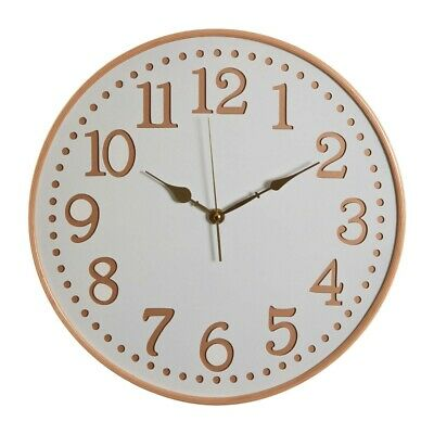 Hunter White Wood with Gold Numbers Wall Clock