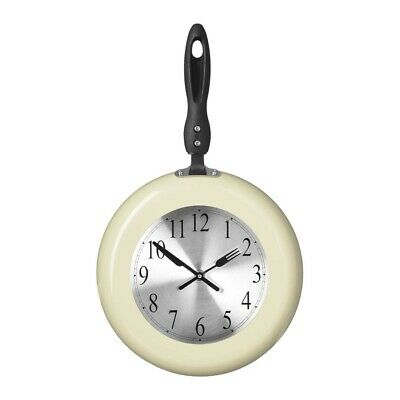 Frying Pan Design Cream Large Knife and Forks Handles Kitchen Wall Clock