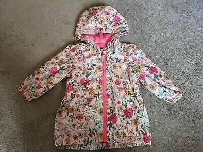 Girls Flowery Weather Proof Rain Coat By Nutmeg Size 18months to 2 Years
