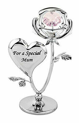 Crystal Ornament Gift Set Crystocraft With Swarovski Strass for MUM Rose Flower