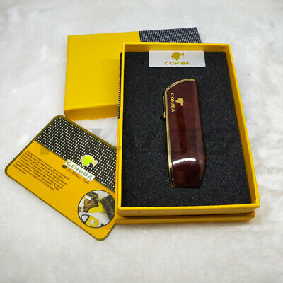 COHIBA Mahogany Metal 3 TORCH JET FLAME CIGAR CIGARETTE LIGHTER WITH PUNCH